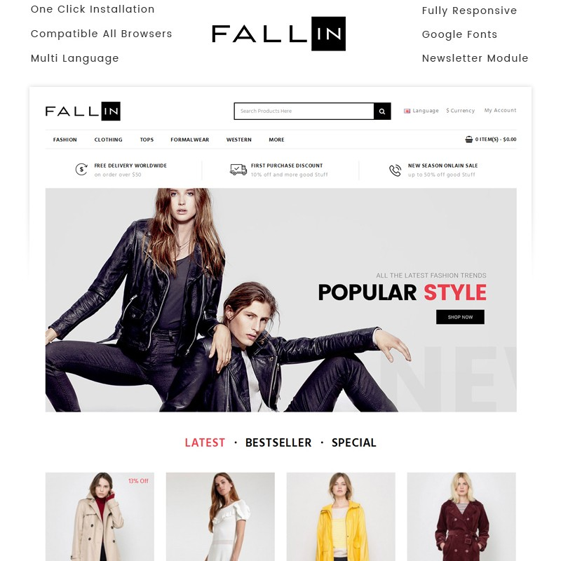 Fallin premium template for online clothing store
