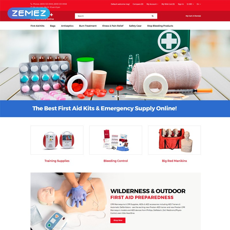 Health + template online store pharmacy adaptive OpenCart