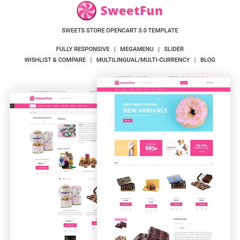 SweetFun premium template for online store of candies and sweets