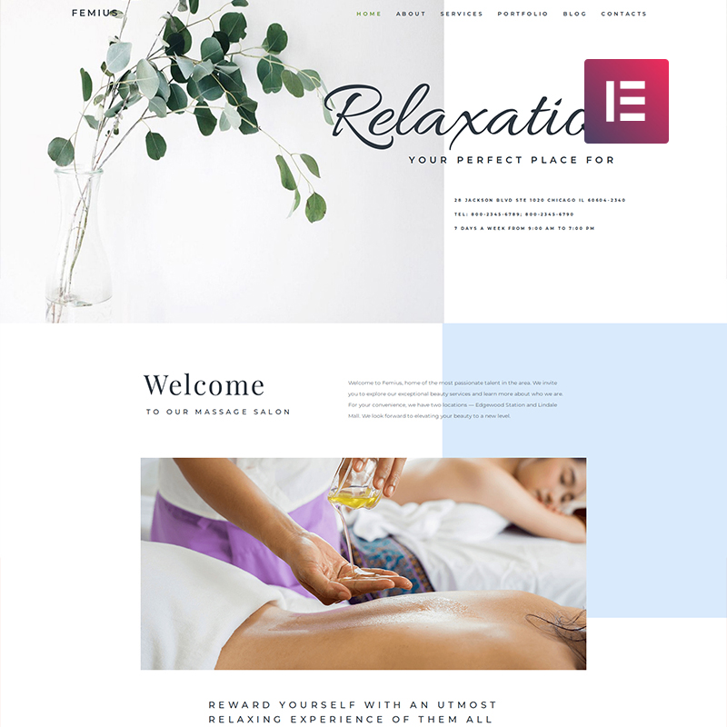 WordPress шаблон Femius - Massage Salon Ready-to-Use Minimal Elementor