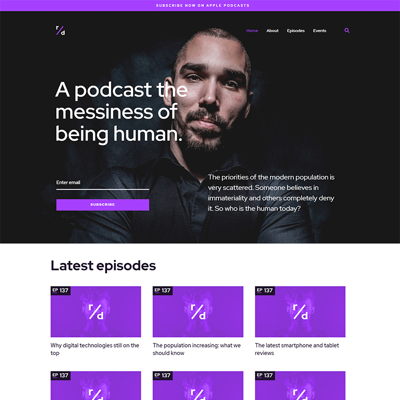 WordPress шаблон Richard Dream - Podcast Website Template with Audio and Video Players
