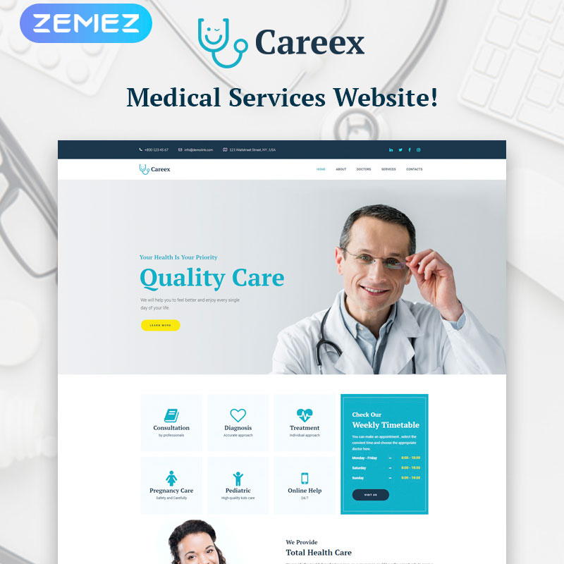 WordPress шаблон Careex - Family Doctor Elementor