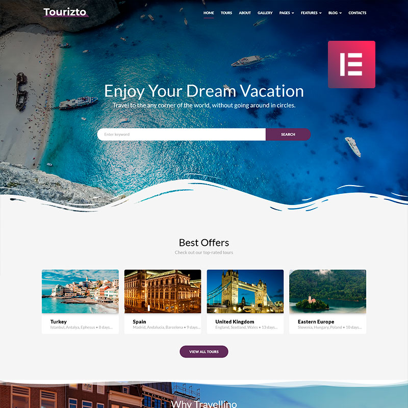 Tourizto - Elementor WordPress шаблон сайта турагентства