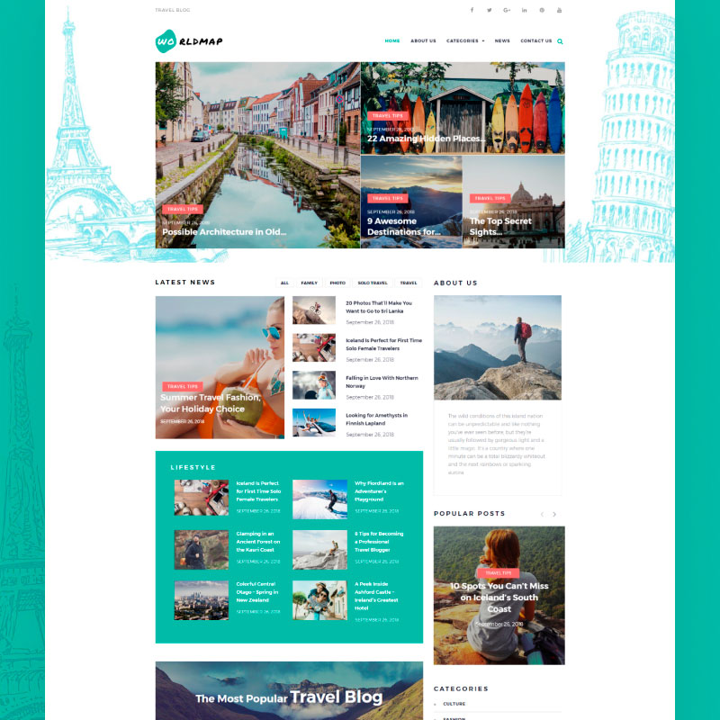 WordPress шаблон WorldMap - Travel Photo Blog Elementor