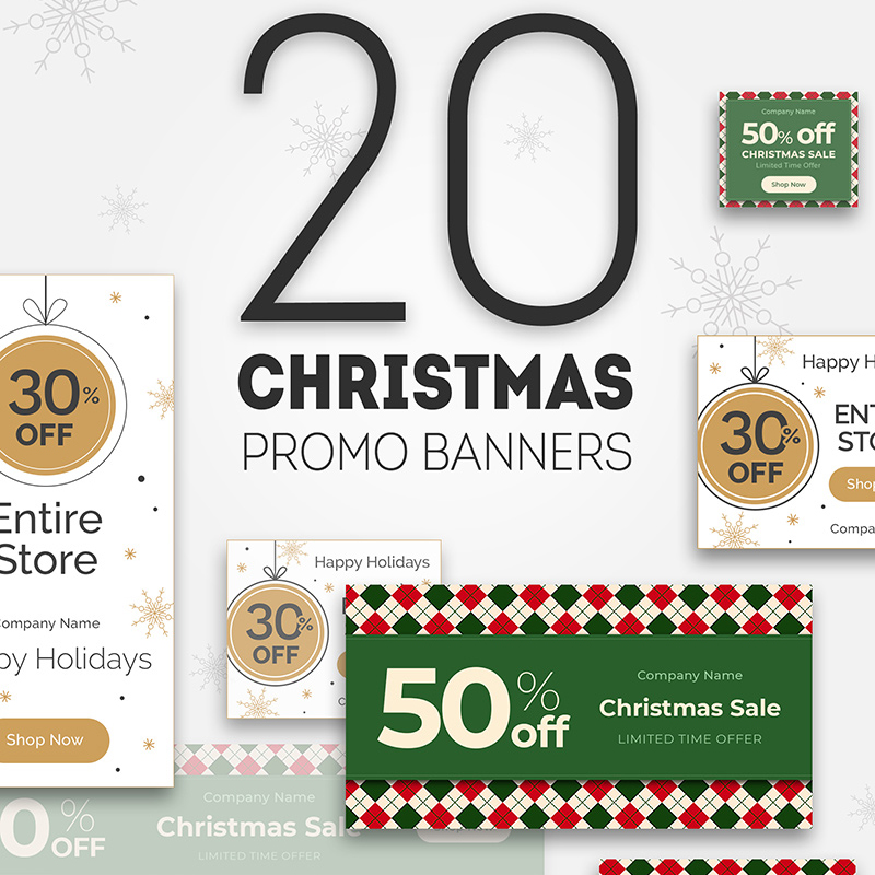 The set of Christmas Promo Banners is a set of blanks for designing high-quality SEO advertising on the Internet.