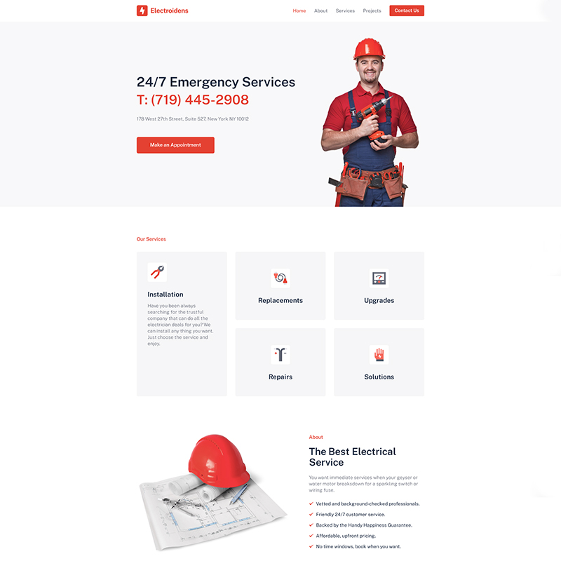 Electroidens - Perfect Example of Electrician Websites